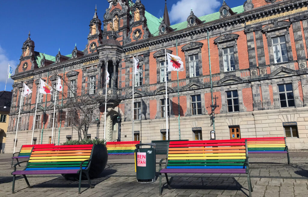 Malmö dressed in rainbow colours