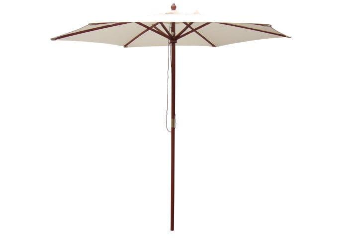 Markedsparasol Santander Ø250 cm beige – Sunlife med tilhørende 12 L grå plast parasolstander