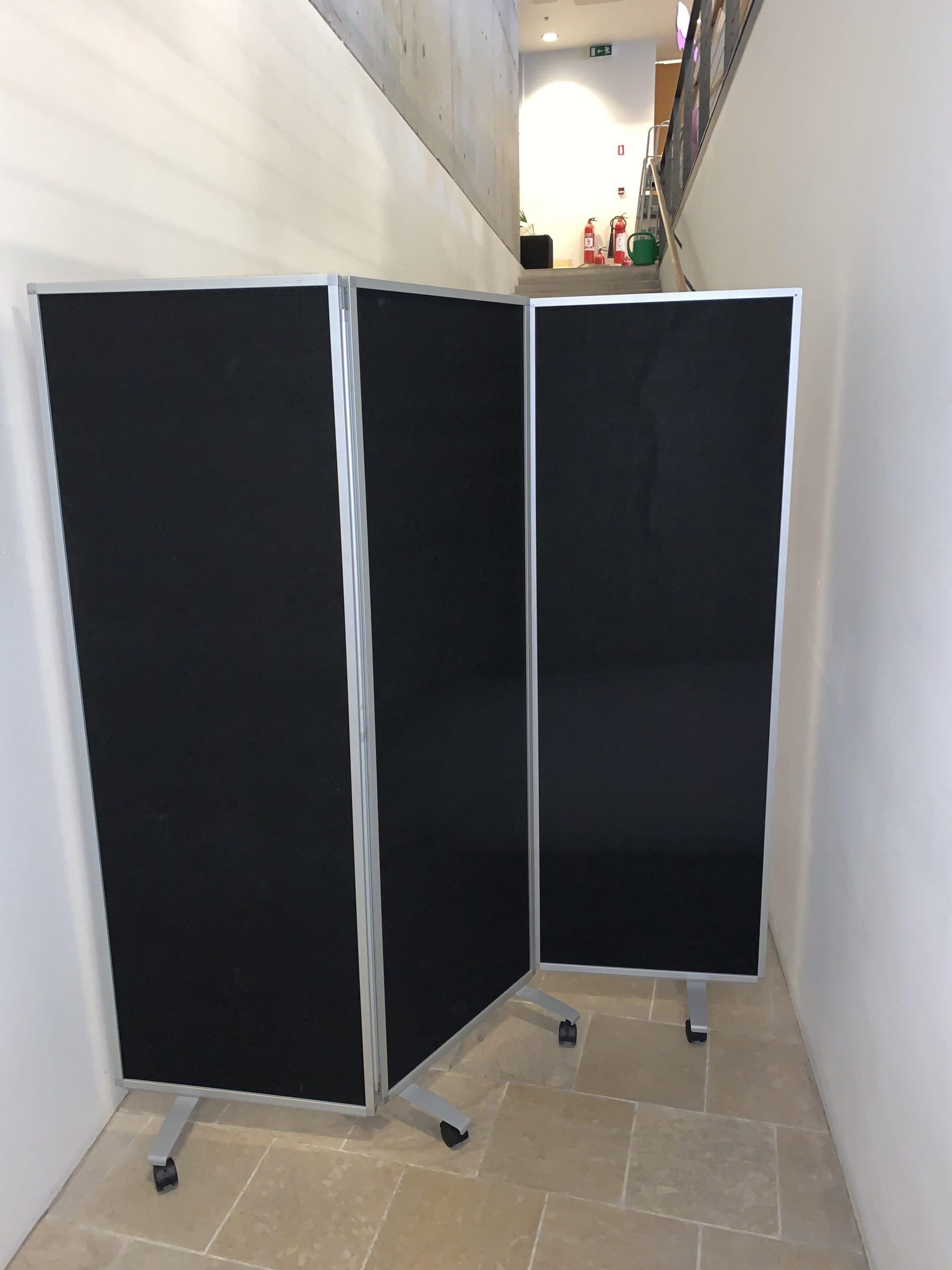 Room divider (wheels), 3 panel, Black / Silver, 180 x 180 x 40